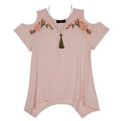 Girls 7-16 IZ Amy Byer Cold Shoulder Embroidered Floral Sharkbite Hem Top with Necklace