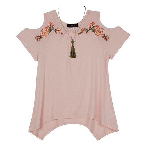 Girls 7-16 IZ Amy Byer Cold Shoulder Embroidered Floral Sharkbite Hem Top with Necklace
