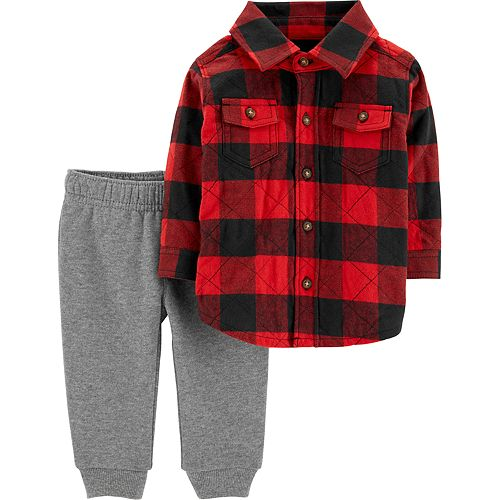 Baby Boy Carter's Quilted Flannel Shirt & Pants Set