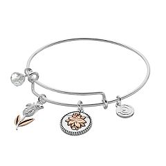 love this life Two Tone Inspirational Flower Charm Bangle Bracelet