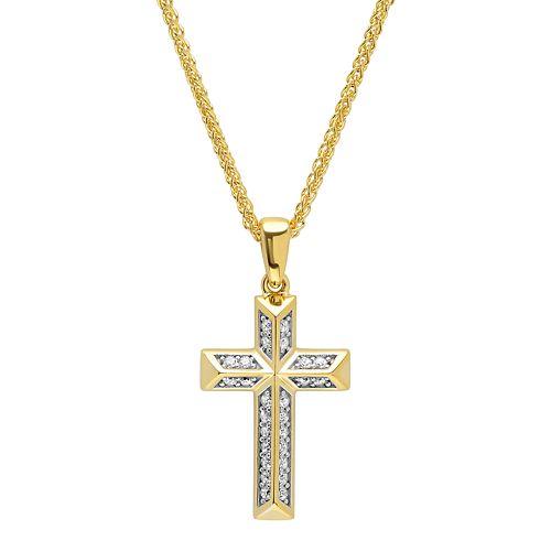 d9f1f75822b8f6 Men's 14k Gold Over Silver Cubic Zirconia Cross Pendant Necklace