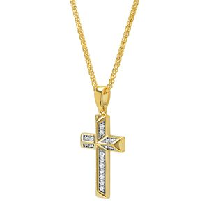 Men's 14k Gold Over Silver Cubic Zirconia Cross Pendant Necklace