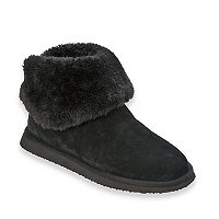 Women's Dearfoams Suede & Faux Shearling Bootie Slippers