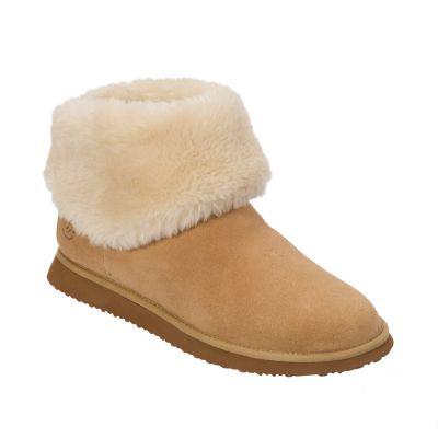 Women's Dearfoams Suede & Faux Shearling Bootie Slippers