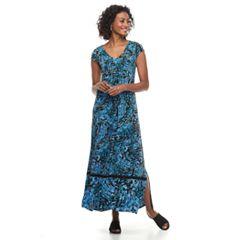 Petite Dana Buchman Shirred Crepe Maxi Dress