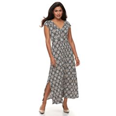 Petite Dana Buchman Shirred Crepe Maxi Dress