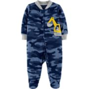 Baby Boy Carter's Camo Construction Truck Microfleece Sleep & Play