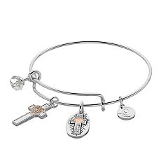 love this life 'Live by Faith' Cross Charm Bangle Bracelet