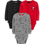 Baby Boy Carter's 3-pack Solid & Print Thermal Henley Bodysuits