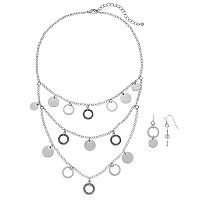 Rhinestone & Disc Multistrand Bib Necklace & Drop Earring Set