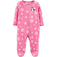 Baby Girl Carter's Microfleece Snowflake & Penguin Sleep & Play