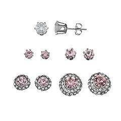 Pink Nickel Free Stud Earring Set