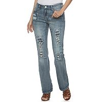 Juniors' Almost Famous Destructed Rip & Repair Mid-Rise Bootcut Jeans