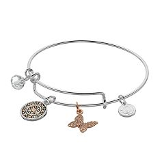 love this life Two Tone Kindness Charm Bangle Bracelet