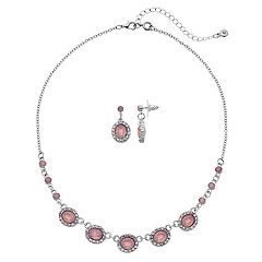 Pink Nickel Free Necklace & Drop Earring Set