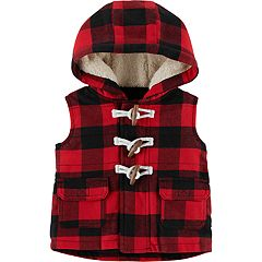 Baby Boy Carter's Buffalo Check Hooded Fleece Vest