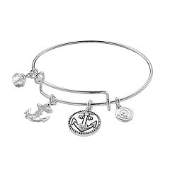 love this life Crystal Anchor Charm Bangle Bracelet