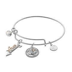 love this life Two Tone 'Mom - I Love You' Charm Bangle Bracelet