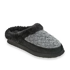 Women's Dearfoams Suede & Basketweave Clog Slippers
