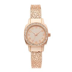 Women's Crystal Accent Textured Bangle Watch