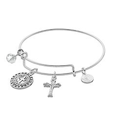 love this life Faith Cross Charm Bangle Bracelet