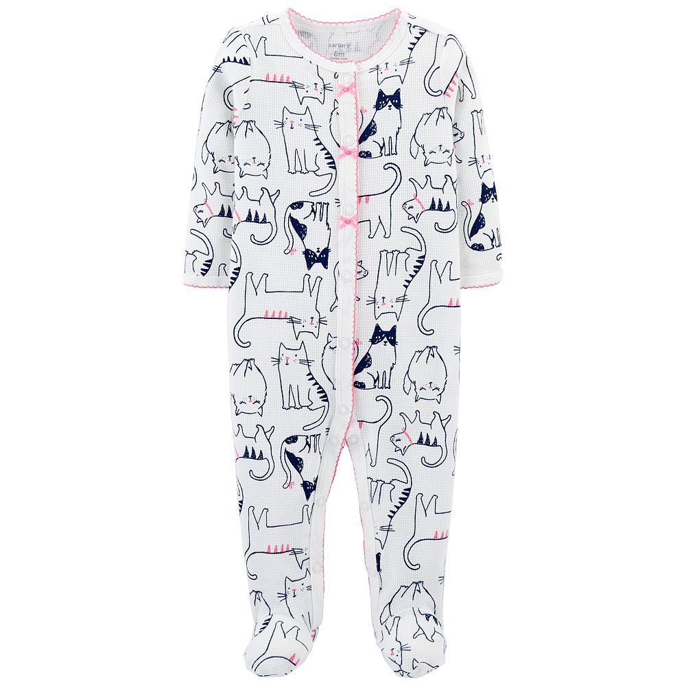 Baby Girl Carter's Kitty Cat Thermal Sleep & Play