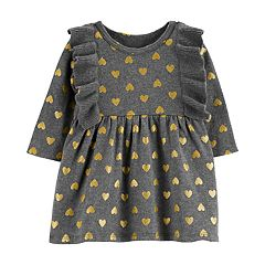 Baby Girl Carter's Glittery Heart Ruffle Sweaterdress