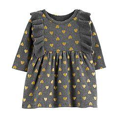 Baby Girl Carter's Glittery Heart Ruffle Sweaterdress