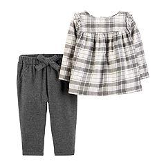 Baby Girl Carter's Plaid Lurex Top & Pants Set