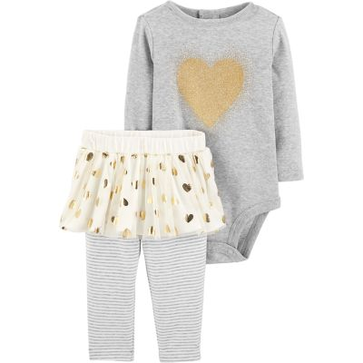 Baby Girl Carter's Glittery Heart Bodysuit & Tutu Leggings Set