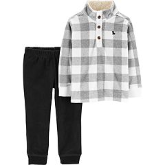 Toddler Boy Carter's Buffalo Checked Pullover Top & Fleece Pants Set