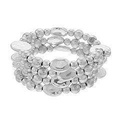 Silver Tone Beaded Coil Bracelet