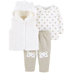 Baby Girl Carter's Glittery Heart Top, Hooded Velboa Vest & Bear Applique Pants Set