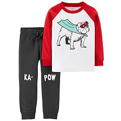 Toddler Boy Carter's 2-pc. Super Bulldog Raglan Tee & 'Ka-Pow' Jogger Pants Set