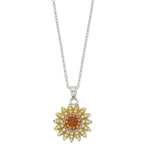 Silver plated crystal sunflower pendant necklace aloadofball Gallery