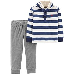 Toddler Boy Carter's Striped Fleece Sherpa Pullover Top & Pants Set