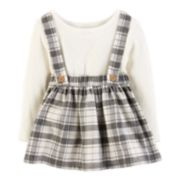 Baby Girl Carter's Pointelle Bodysuit & Plaid Lurex Jumper Set