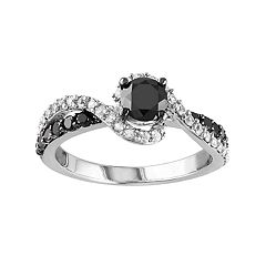 Stella Grace Sterling Silver 3/4 Carat T.W. Black Diamond & Lab-Created White Sapphire Swirl Ring