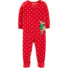 Baby Girl Carter's Microfleece Polka-Dot & Reindeer Footed Pajamas
