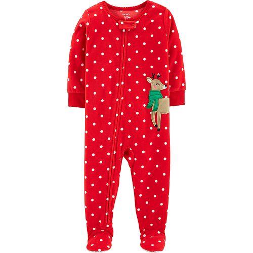 2bc8a98199eb Baby Girl Carter s Microfleece Polka-Dot   Reindeer Footed Pajamas