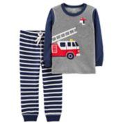 Toddler Boy Carter's Fire Truck Pocket Tee & Striped Jogger Pants Set