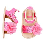 Baby Girl Carter's Glitter & Flower Sandal Crib Shoes