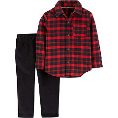 Toddler Boy Carter's Plaid Button Down Shirt & Fleece Pants Set