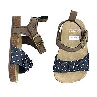 Baby Girl Carter's Cork Sole Navy Dot Sandals