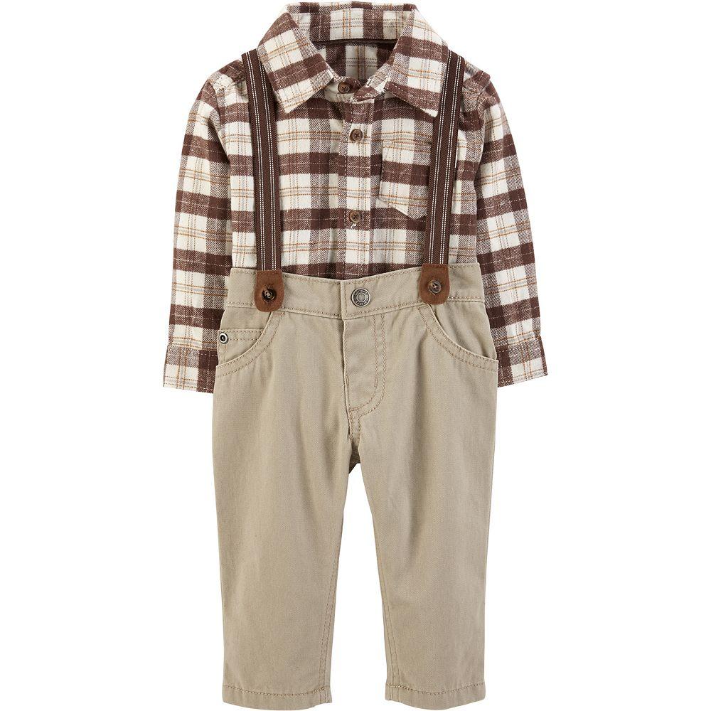 Baby Boy Carter's Plaid Button-Front Bodysuit & Suspender Pants Set