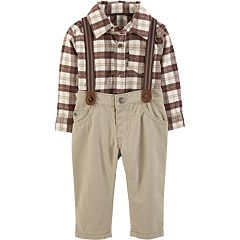 Baby Boy Carter's Plaid Button-Front Bodysuit & Suspender Pants Set