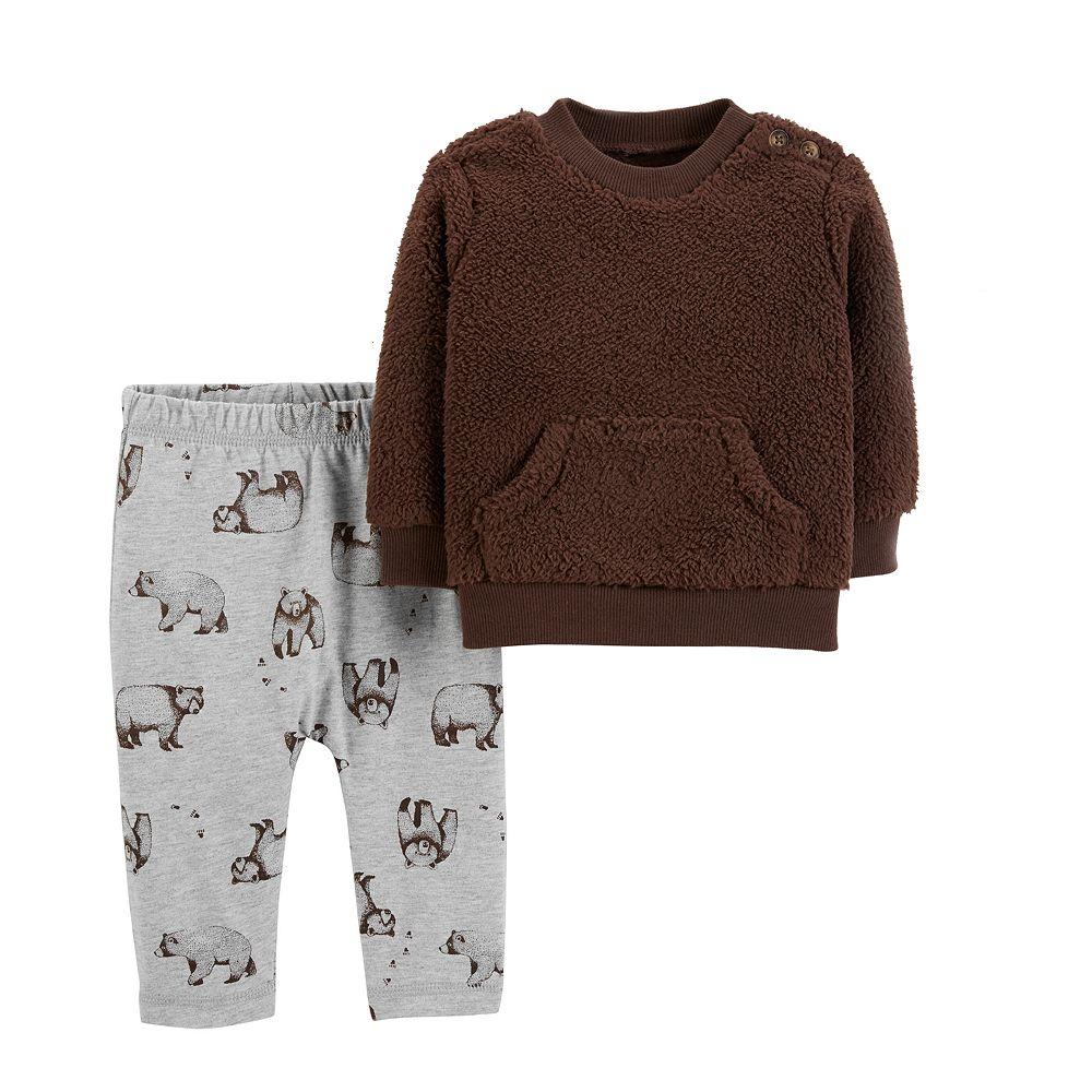 Baby Boy Carter's Sherpa Sweatshirt & Bear Pants Set