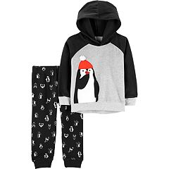 Toddler Boy Carter's Penguin Raglan Hoodie & Printed Jogger Pants Set
