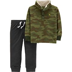 Toddler Boy Carter's Sherpa Mock Neck Camo Pullover Fleece & Jogger Pants Set