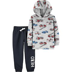 Toddler Boy Carter's Fire Truck Hoodie & 'Hero' Knit Pants Set